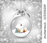 glass ball christmas with a... | Shutterstock .eps vector #225350209