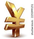 Shiny Golden Yen Symbol. Eps8....