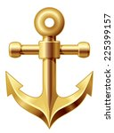 Gold Anchor. Eps8. Cmyk....