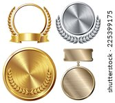 set of gold  silver and bronze... | Shutterstock .eps vector #225399175