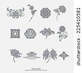 set premium of vector flowers. | Shutterstock .eps vector #225410581