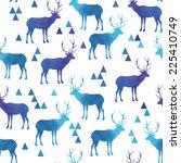 seamless pattern with deer.... | Shutterstock .eps vector #225410749
