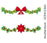 set christmas holly garland... | Shutterstock .eps vector #225411361