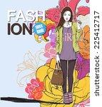 pretty stylish girl in sketch... | Shutterstock .eps vector #225412717