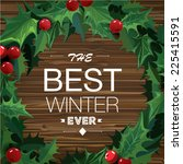 christmas wreath with text... | Shutterstock .eps vector #225415591