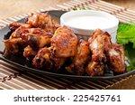 baked chicken wings in the... | Shutterstock . vector #225425761