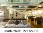 architecture  wide loft with... | Shutterstock . vector #225429811