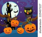 cartoon halloween scene  ... | Shutterstock . vector #225437227