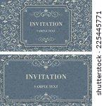 set of vintage invitation cards ... | Shutterstock .eps vector #225445771