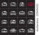outline car icons on black | Shutterstock .eps vector #225454231