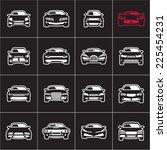 outline car icons on black | Shutterstock .eps vector #225454231
