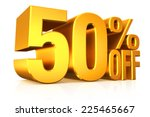 3d render gold text 50 percent... | Shutterstock . vector #225465667