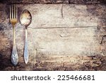 Vintage Silverware On Rustic...