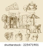 vector illustration with hand... | Shutterstock .eps vector #225471901