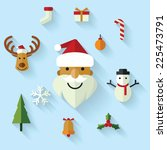christmas icons set in flat... | Shutterstock .eps vector #225473791