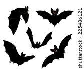 set of black halloween bats... | Shutterstock .eps vector #225486121
