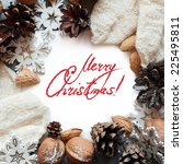 christmas card with decoration...   Shutterstock . vector #225495811