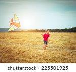 Happy Little Girl Witha Kite I...