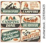 Set Of Vintage Outdoor Camp...