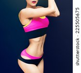 slim athletic fitness girl on a ... | Shutterstock . vector #225505675