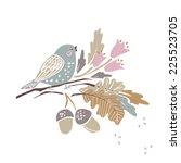 autumn theme   bird on a branch | Shutterstock .eps vector #225523705