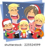 family singing christmas carol... | Shutterstock .eps vector #225524599