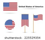 set of usa flags  stars and... | Shutterstock .eps vector #225529354