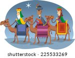 three wise kings riding camels... | Shutterstock .eps vector #225533269