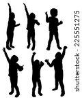 set of children silhouettes in... | Shutterstock .eps vector #225551275