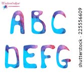 watercolor capital letters ... | Shutterstock .eps vector #225556609