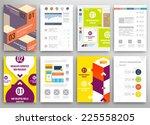 set of flyer  brochure design... | Shutterstock .eps vector #225558205
