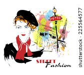 fashion girl in sketch style.... | Shutterstock .eps vector #225564577