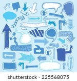 set of arrows  hand drawn... | Shutterstock .eps vector #225568075