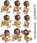 cartoon caveman running ... | Shutterstock .eps vector #225580579