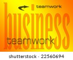 business teamwork illustration on a flaming background (part of set on similar business themes) - stock photo