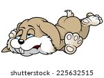 tired rabbit   colored cartoon... | Shutterstock .eps vector #225632515