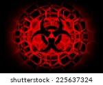 biohazard symbol on circle... | Shutterstock .eps vector #225637324