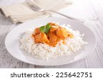 curry chicken and basmati rice | Shutterstock . vector #225642751