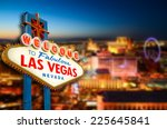 Stock photo welcome to never sleep city las vegas nevada sign with the heart of las vegas scene in the 225645841
