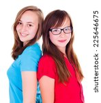 two smiling teen girls standing ... | Shutterstock . vector #225646675