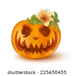 pumpkin on white background  ... | Shutterstock .eps vector #225650455