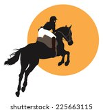 horse and rider jumping on... | Shutterstock .eps vector #225663115