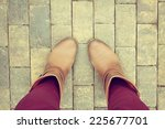 brown shoes from aerial view on ... | Shutterstock . vector #225677701