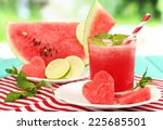 watermelon cocktail on table ... | Shutterstock . vector #225685501