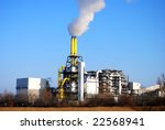 Waste incineration plant with stack - stock photo
