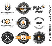 gluten free label set with... | Shutterstock .eps vector #225690907