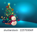 christmas tree with gift and... | Shutterstock .eps vector #225703069