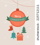 card with christmas ball and... | Shutterstock .eps vector #225712111