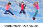 group of happy children... | Shutterstock . vector #225732001