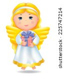 angel with gift.  | Shutterstock .eps vector #225747214